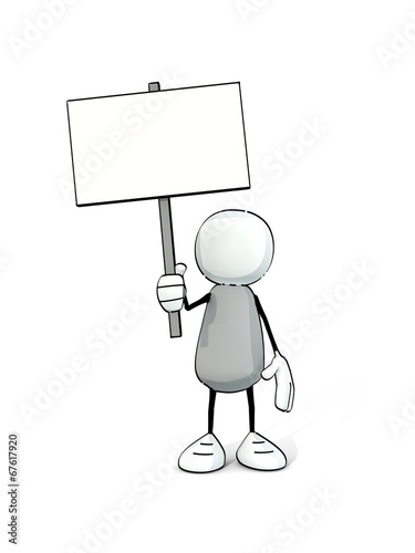 canvas print picture little sketchy man with a plain sign