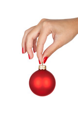 Holding christmas ball