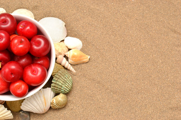 Plums and shells on sand