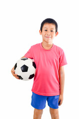 Asian boy with soccer ball