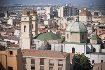 Cagliari.Church of St Anne in neighborhood Stampace
