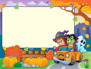 Autumn frame with Halloween theme 3