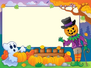 Autumn frame with Halloween theme 4