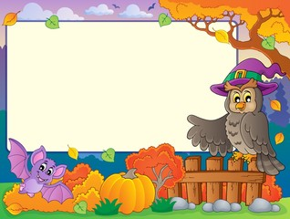 Autumn frame with Halloween theme 5