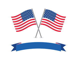 American flags and banner. Vector illustration.