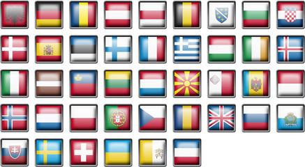 Drapeaux EUROPE pictos 3D boutons carrés