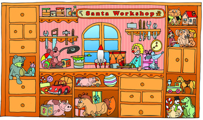 santa claus workshop. Vector