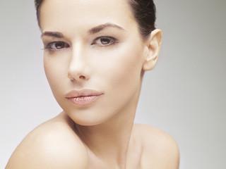 Beautiful face of a young caucasian woman