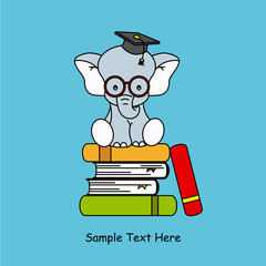 elephant sitting on top of books graduation cap and With glasses