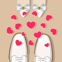 Wedding shoes and hearts