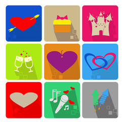 Icons set for Valentine s Day - colored