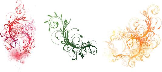 Colorful floral decorative elements