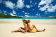 Couple on a beach at Seychelles