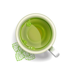 cup of green tea with painted leaves and mint tea
