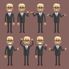 Businessman blond character in different poses