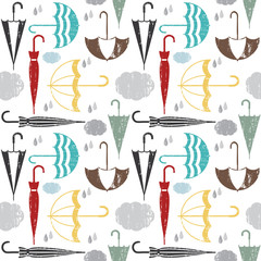 Scratched vector seamless pattern with rain and umbrellas