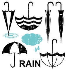 Umbrellas scratched silhouette icons