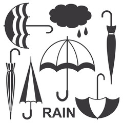 Umbrellas silhouette icons vector set