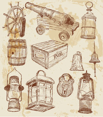 Vector. Pirate design elements. Doodle style