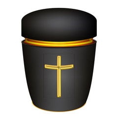 schwarze Urne mit Kreuz