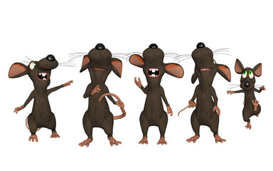 3d cartoon mice looking upwards