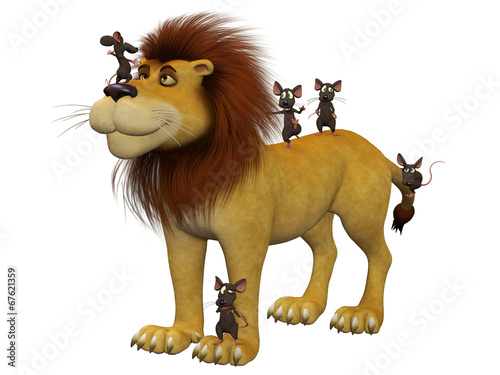 Courage, 3d cartoon mice  with a lion