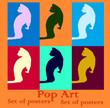 Pop art set cat in the cat veterna illustration poster bright