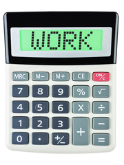 Calculator with WORK on display isolated on white background