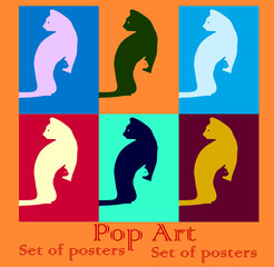 Pop art set cat in the cat veterna illustration poster bright