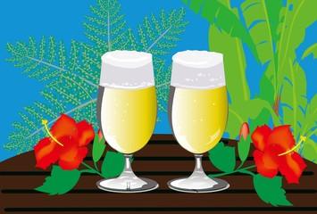 冷えたグラスビールとハイビスカスの常夏バケーション