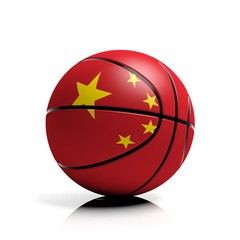 Basketball ball flag of China isolated on white background