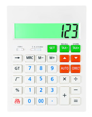 Calculator with 123 on display on white background