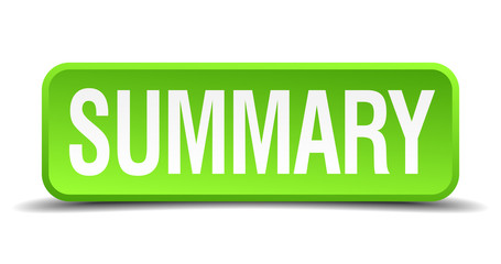Summary green 3d realistic square isolated button