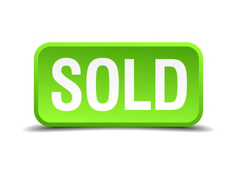 Sold green 3d realistic square isolated button