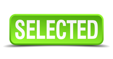 Selected green 3d realistic square isolated button