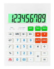 Calculator with 123456789 on display on white background