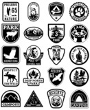Fototapety Outdoor adventure vector patches in black and white