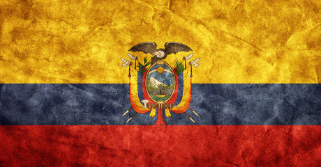 Ecuador grunge flag. Item from my vintage flags collection
