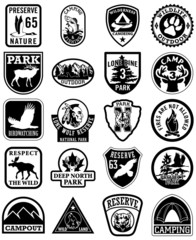 Outdoor adventure vector patches in black and white