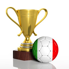 Golden trophy and ball with flag of Italy isolated
