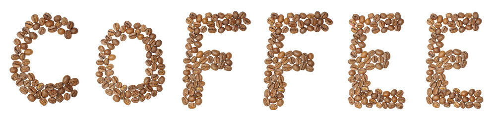 Text coffee arranged from coffee beans isolated