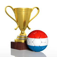 Golden trophy and ball with flag of Netherlands isolated