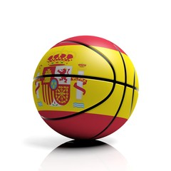 Basketball ball flag of Spain isolated on white background