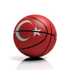 Basketball ball flag of Turkey isolated on white background