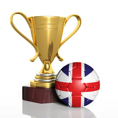 Golden trophy and ball with flag of UK isolated