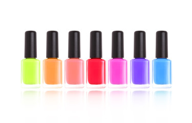 Nail polishes. Manicure bottoles isolated on white