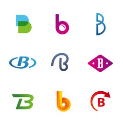 Set of letter B logos design template, elements, icons, signs,