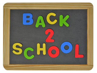 Back to school in colored letters written on traditional slate