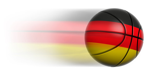 Basketball ball with flag of Germany in motion isolated