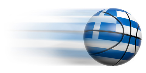 Basketball ball with flag of Greece in motion isolated